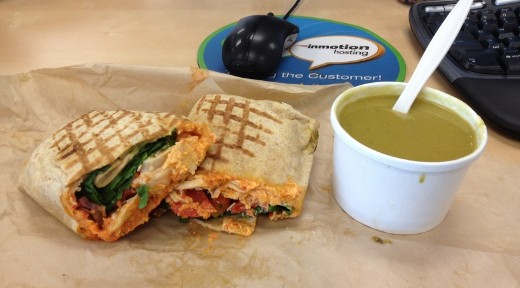Mendocino Farms' Spanish Chicken Wrap & Summer Squash Soup