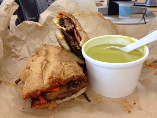 Korean Short Rib Sandwich (with Bacon) & Squash Soup