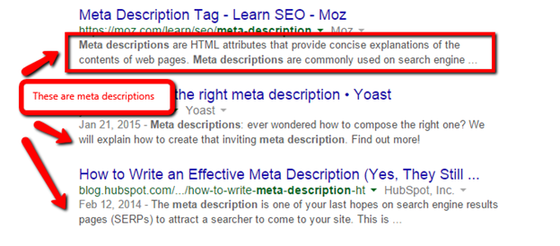 Image showing Meta Descriptions in Search Results