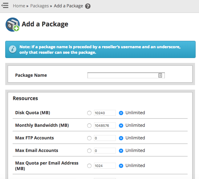 Add a new Hosting Package