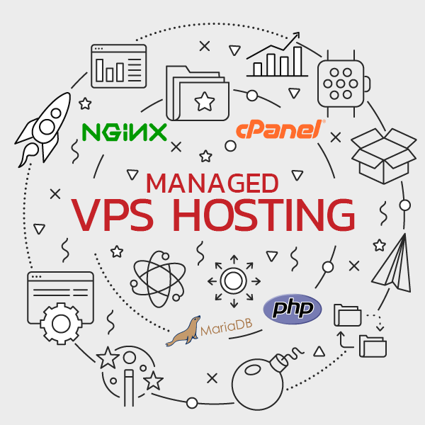 managed vps hosting graphic with software logos