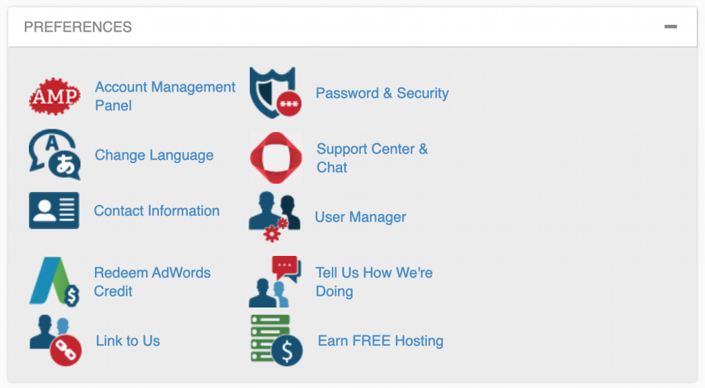 cPanel preferences interface