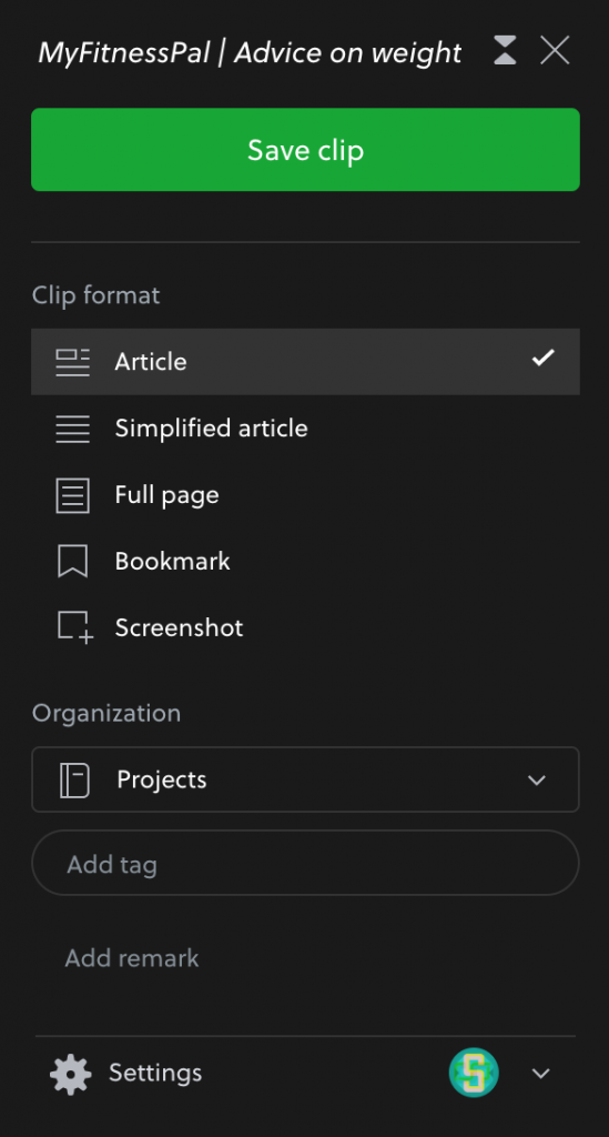 Use Evernote to clip articles and screenshots from the web.