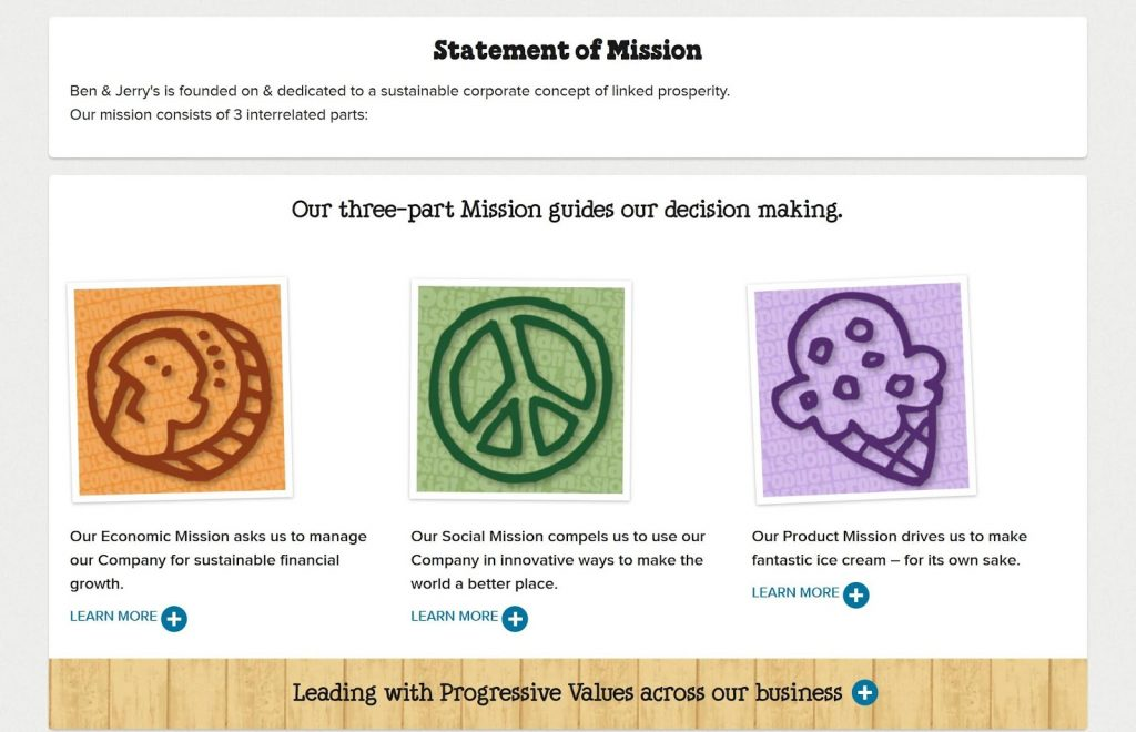 Ben & Jerry statement of mission, an example of engaging ecommerce marketing.