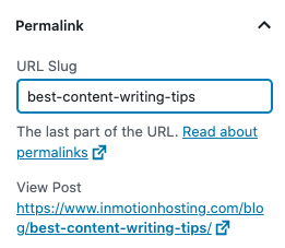 Image of editing the WordPress permalink in the Gutenberg editor under the Document section.