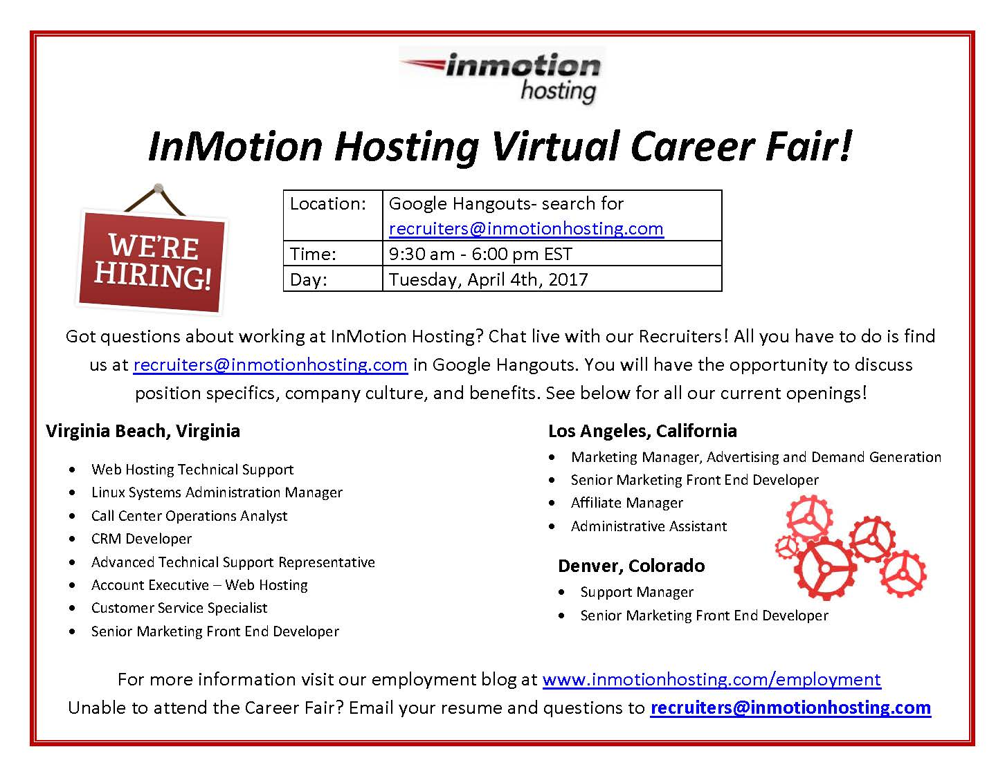 inmotion hosting virtual career fair - Affiliate Manager Resume
