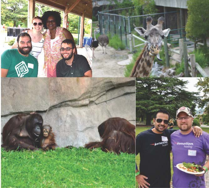 Team members pose at Virginia Beach Summer Event. Monkeys and giraffe shown at zoo event.