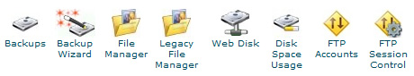 cpanel top file management features icons