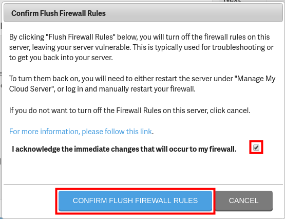 confirm flush firewall rules
