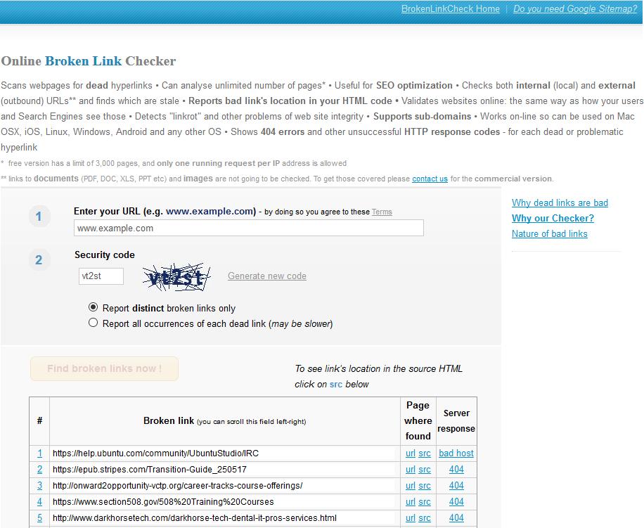 brokenlinkcheck.com results