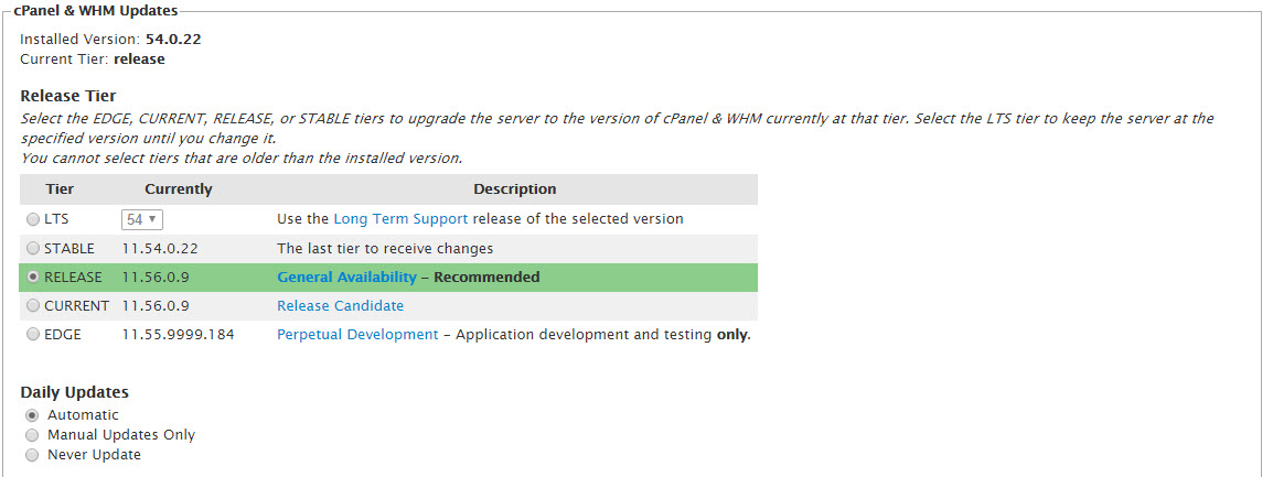 cPanel and WHM version update settings
