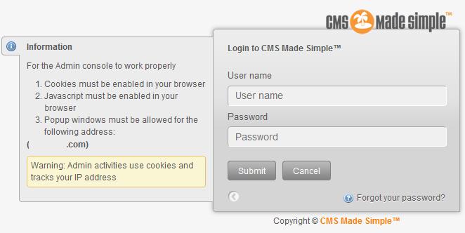 CMSMS Login screen