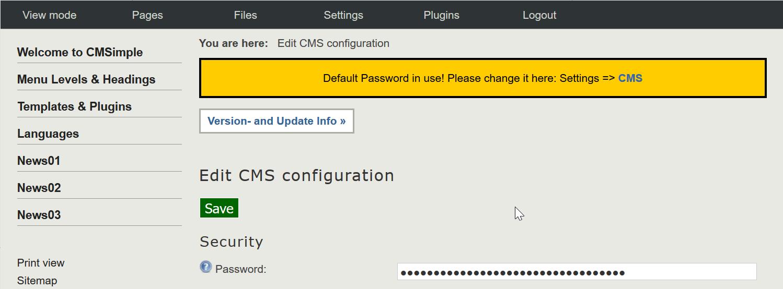 change CMSimple password