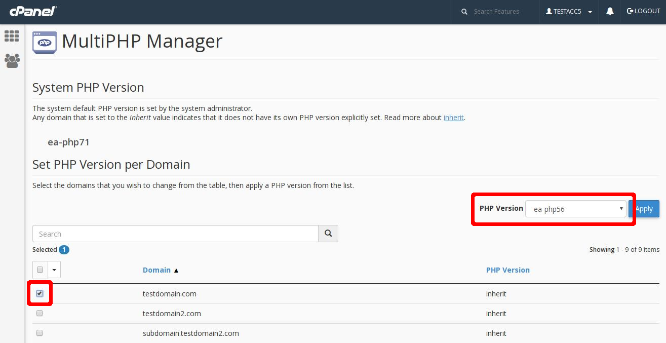 cPanel MultiPHP Manager select version highlight