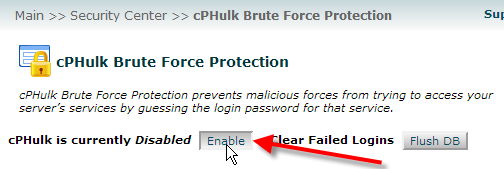 click on enable cphulk brute force protection