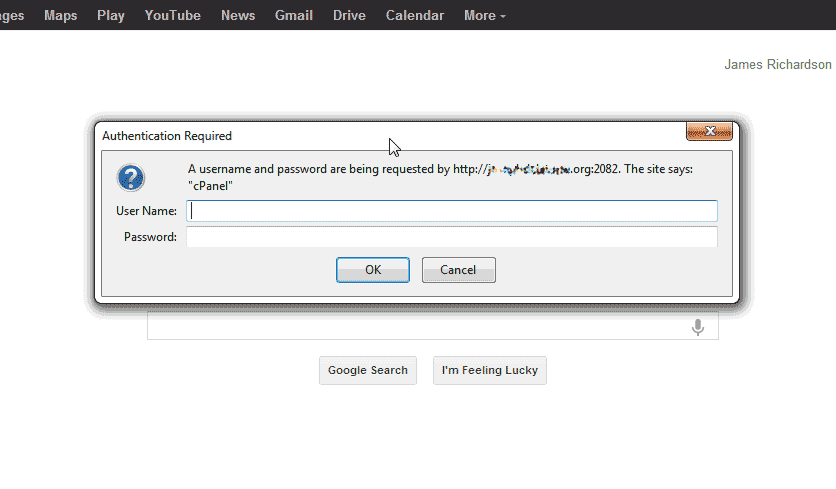 cPanel login prompt