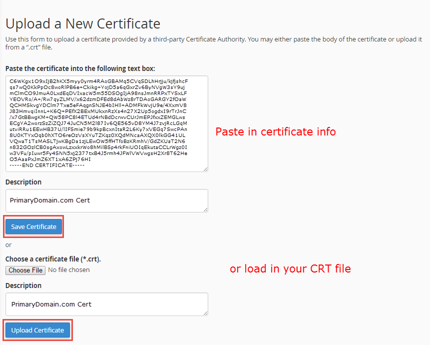 paste or upload your ssl certificate