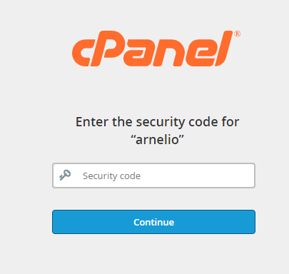 Login screen after cPanel password