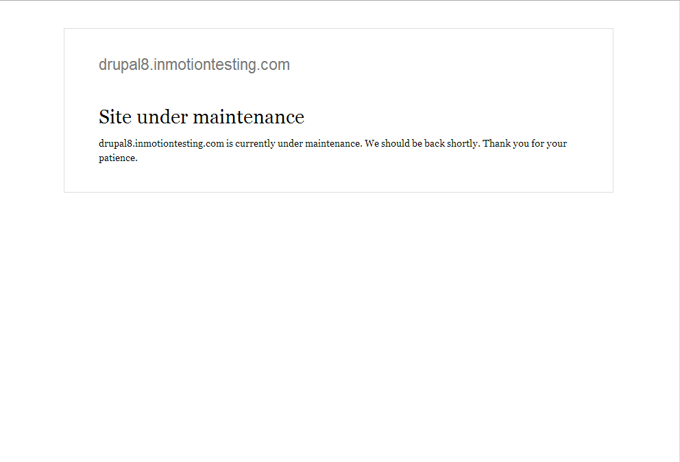 Site after maintenance mode is enabled