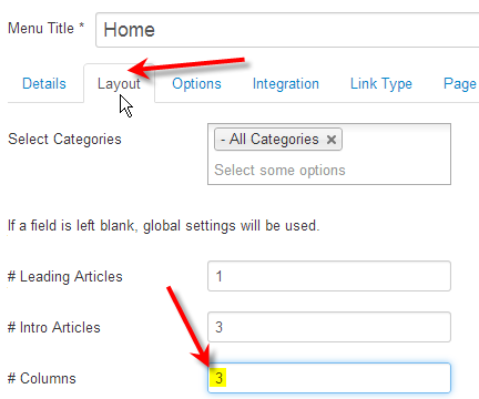 Joomla edit menu item columns