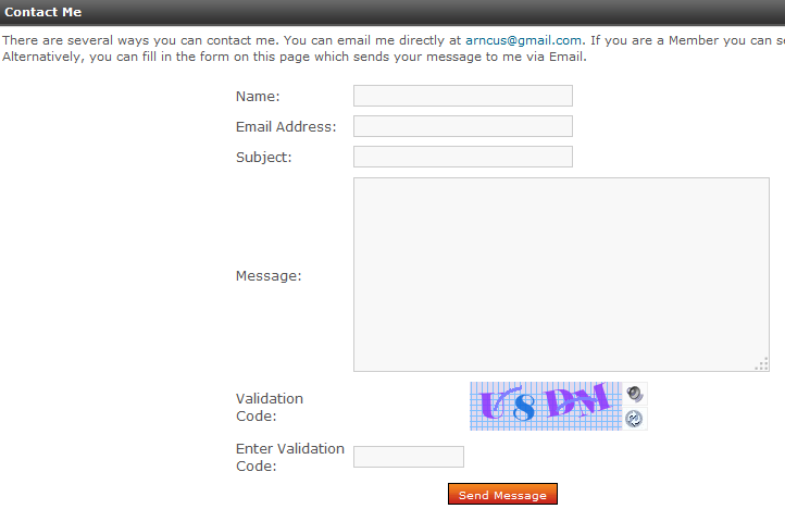 Contact form using the Securimage captcha option