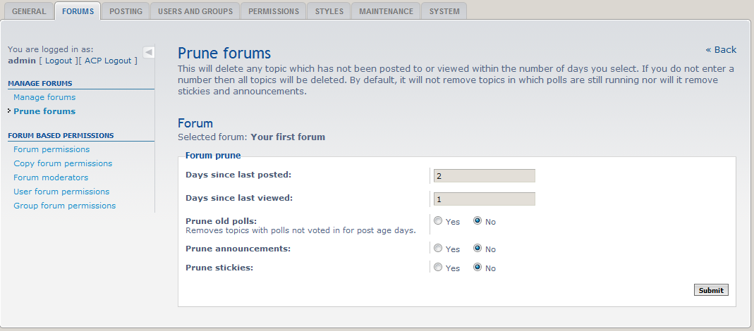 prune your forums
