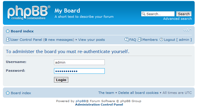 login to phpBB
