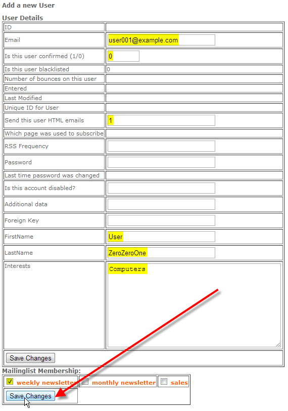 fill out new user details then click save changes