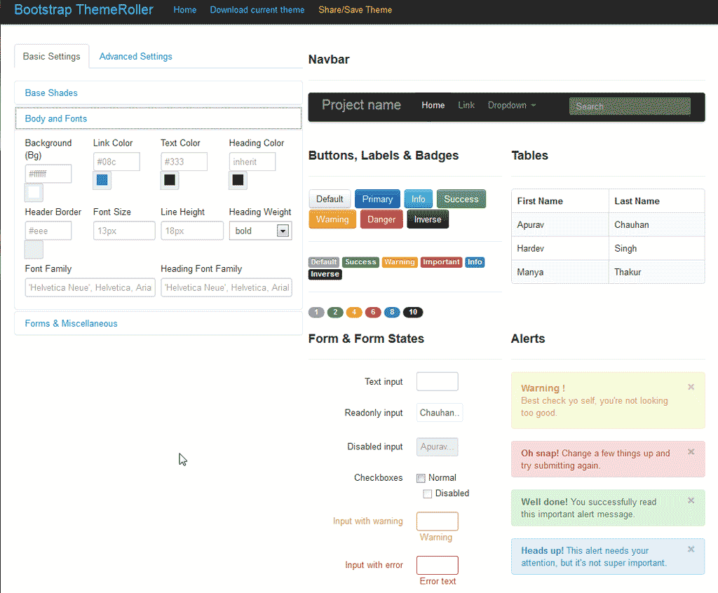 The basic interface settings for the Bootstrap Theme Roller consist of ...
