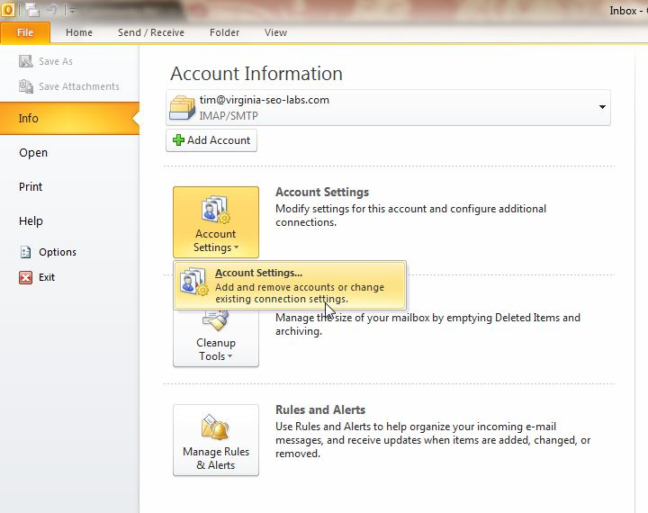 Outlook 2010 Accessing Account Settings Inmotion Hosting