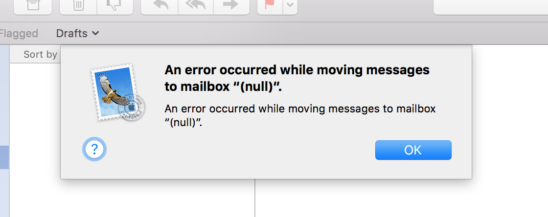 Apple Mail error when moving messages