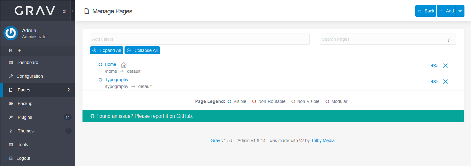 Grav manage pages section