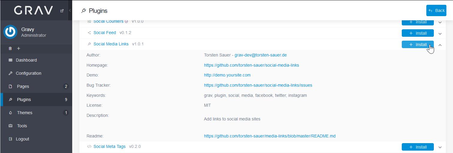 Install Social Media Links plugin