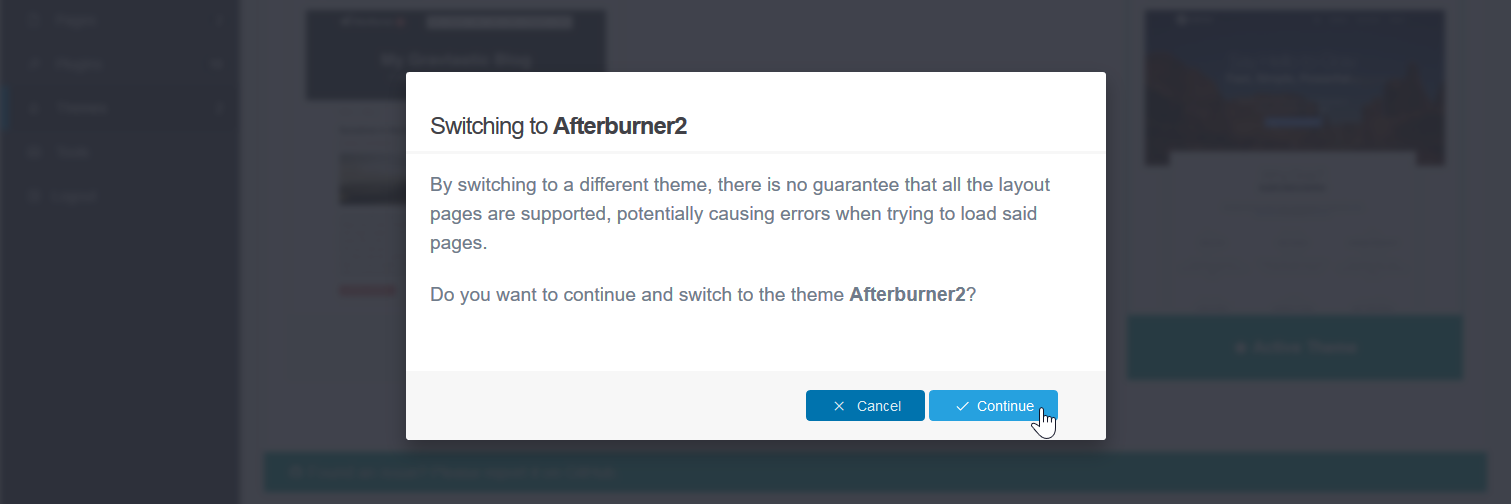 Confirm to install a theme