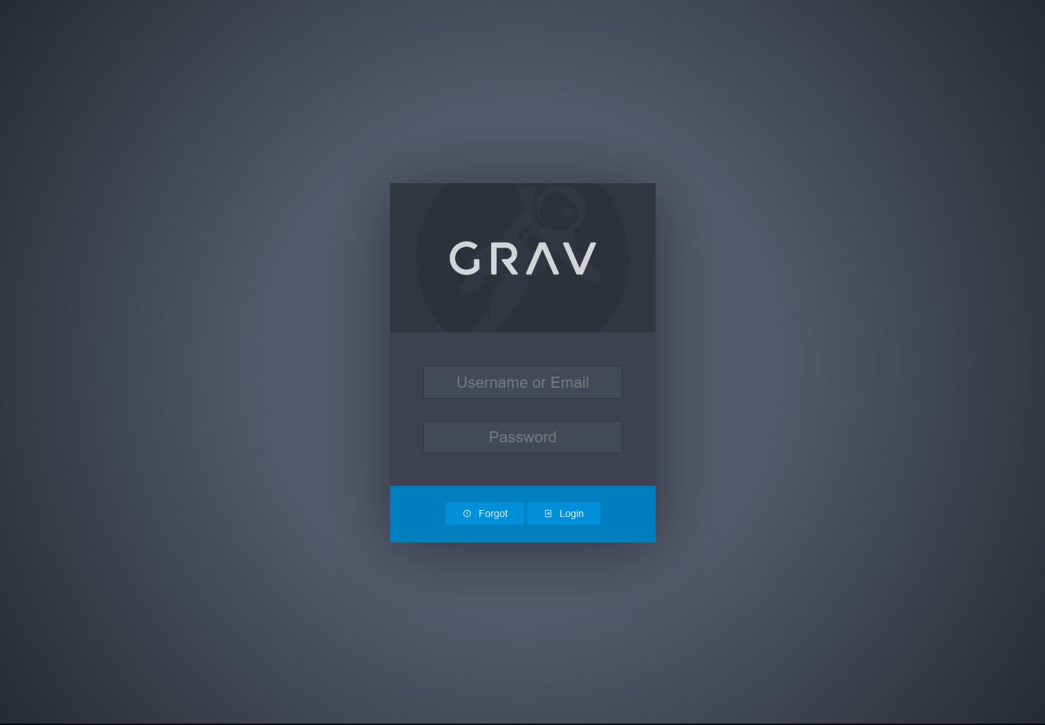 Grav login page