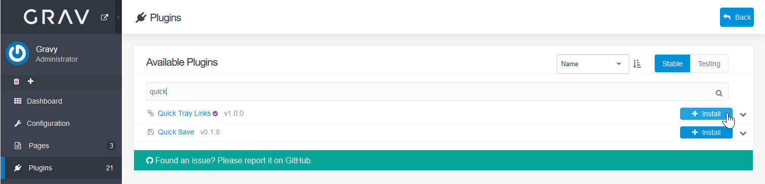 install Quick Tray Links plugin
