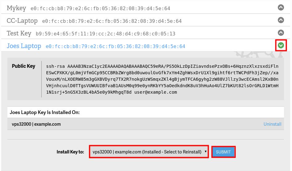 install key to