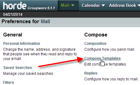click on compose templates