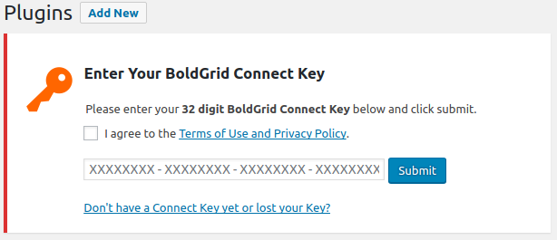 Boldgrid Connect key check