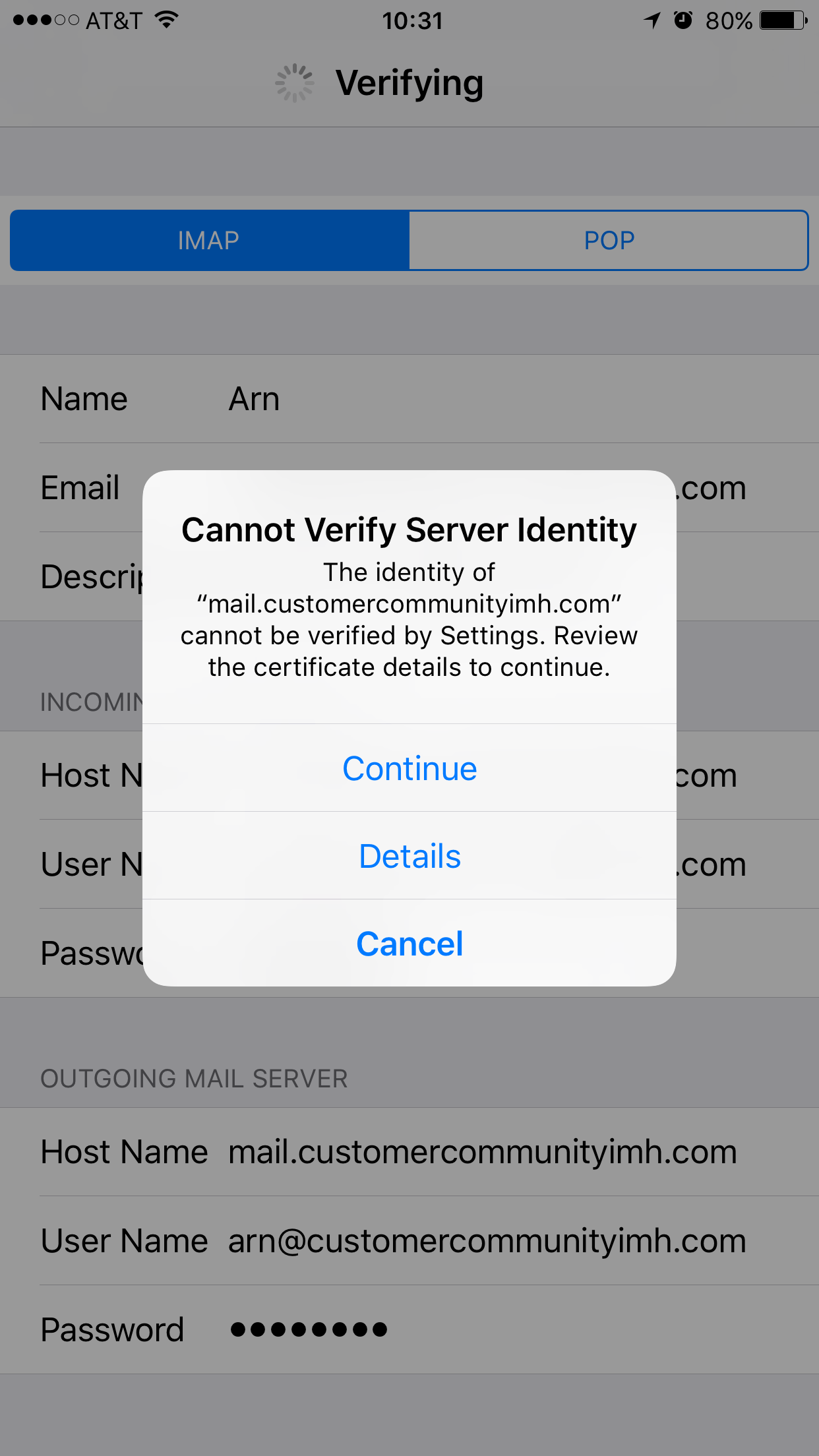 Configuring your iphone for email inmotion hosting cert 1 xflitez Image collections
