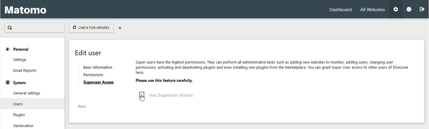 Decide on superuser access