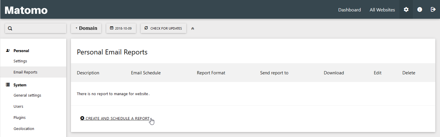 Select Create and Schedule a Report