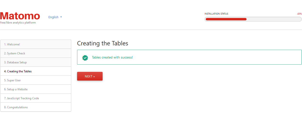 The tables were created