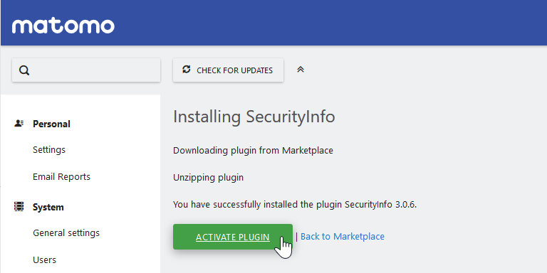 activate Security Info plugin