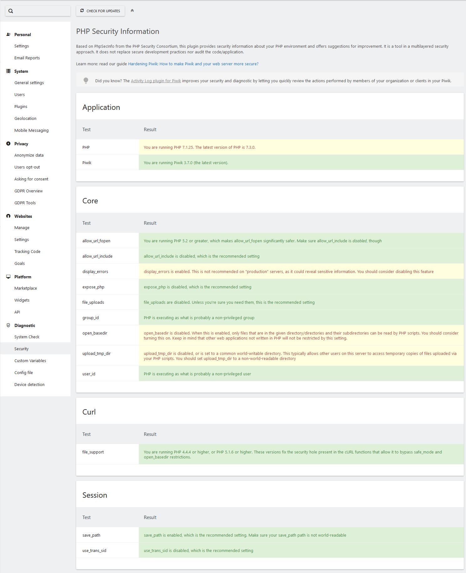 View Security Info plugin