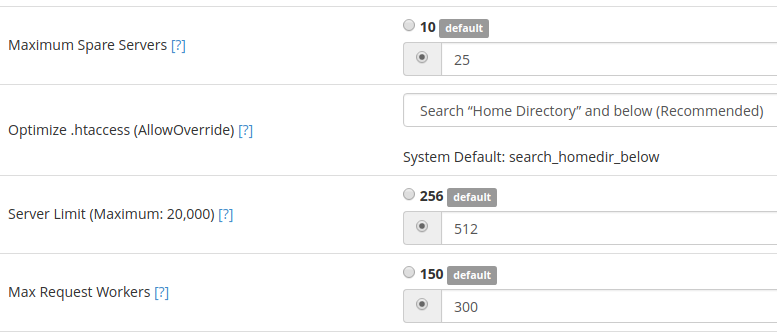 Apache Configuration page inside of WHM