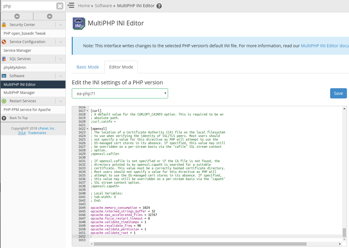 Appending opcache configuration options in the MultiPHP INI Editor inside of WHM