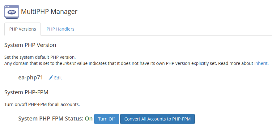 MultiPHP Manager inside of WHM
