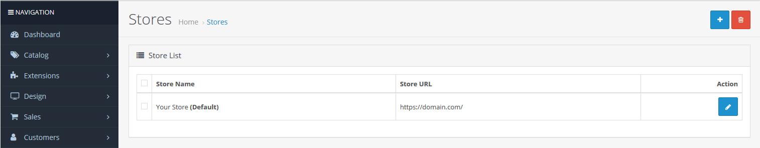 select OpenCart domain