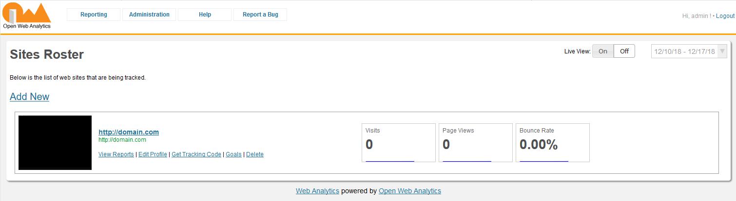 Open Web Analytics dashboard
